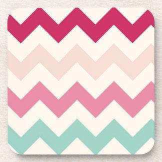 Pastel chevron zigzag stripes zig zag pattern chic beverage coaster