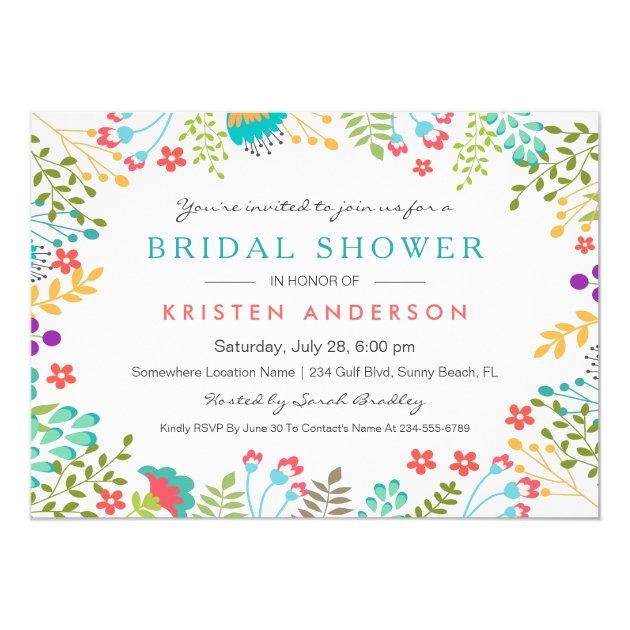 Pastel Chic Tiffany Blue Floral Bridal Shower Card