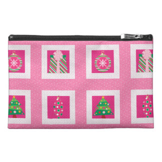 Pastel Christmas Squares Travel Accessory Bags