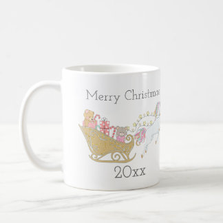 Pastel Christmas Unicorn Santa's Sleigh Coffee Mug