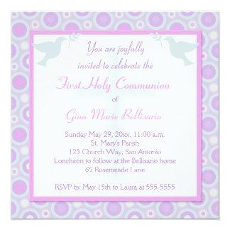 Pastel Circles First Holy Communion Invitation