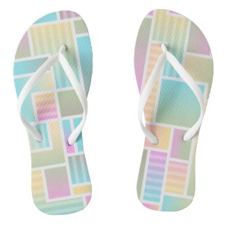 Pastel Color Blocks Pattern Flip Flops
