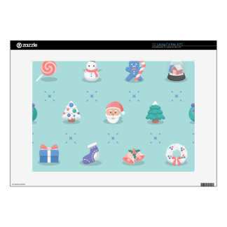"Pastel Color Christmas Characters Seamless Pattern 15"" Laptop Skin"