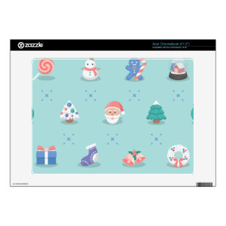 Pastel Color Christmas Characters Seamless Pattern Acer Chromebook Decal