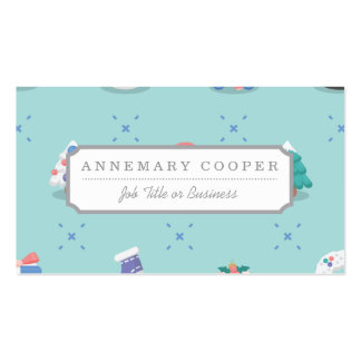 Pastel Color Christmas Characters Seamless Pattern Business Card