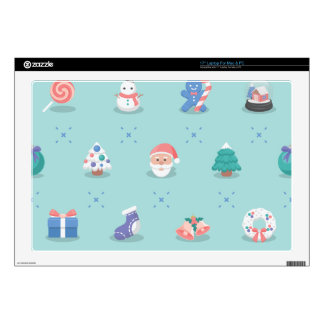 "Pastel Color Christmas Characters Seamless Pattern Decal For 17"" Laptop"