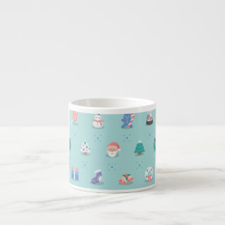 Pastel Color Christmas Characters Seamless Pattern Espresso Cup