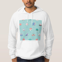 Pastel Color Christmas Characters Seamless Pattern Hoodie