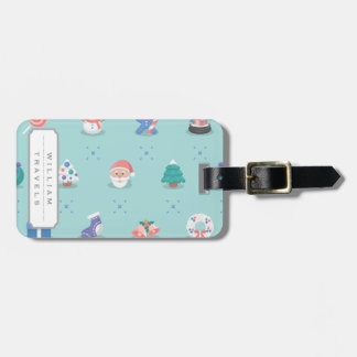 Pastel Color Christmas Characters Seamless Pattern Luggage Tag