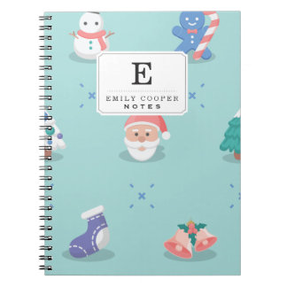 Pastel Color Christmas Characters Seamless Pattern Notebook