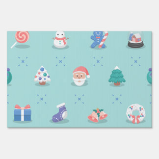 Pastel Color Christmas Characters Seamless Pattern Sign