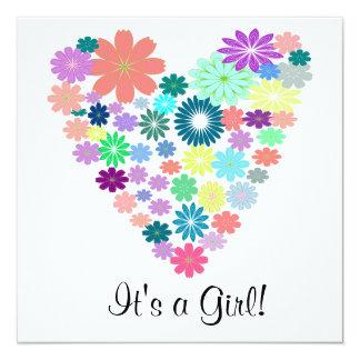 Pastel Color Floral Heart Baby Shower Invitation