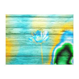 Pastel Color Flower on Wood Canvas Print