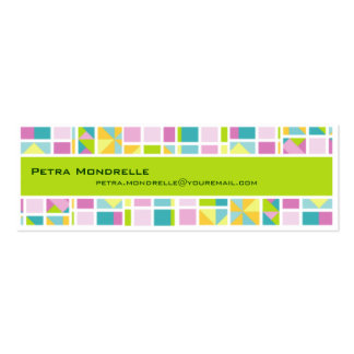 Pastel Color Grid (Lime) Skinny Business Card
