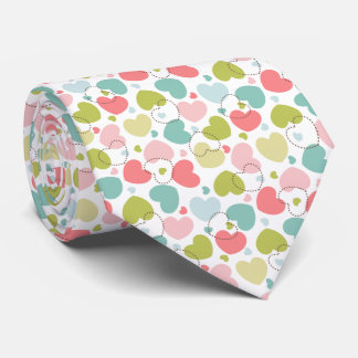Pastel color heart pattern tie