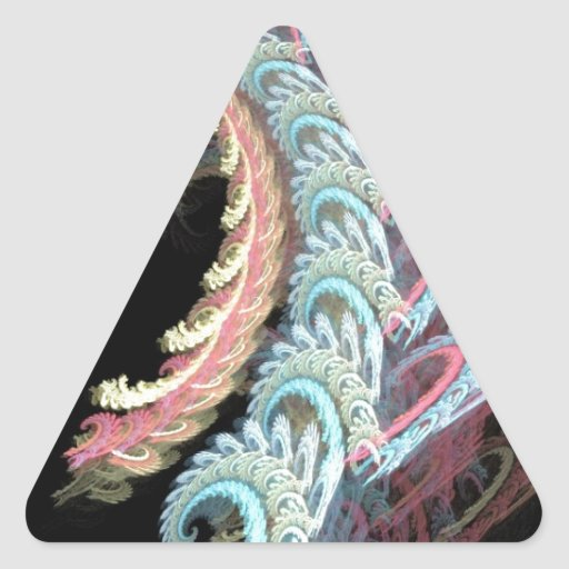 Pastel Color Paisley Fractal Art Design Gifts Triangle Sticker