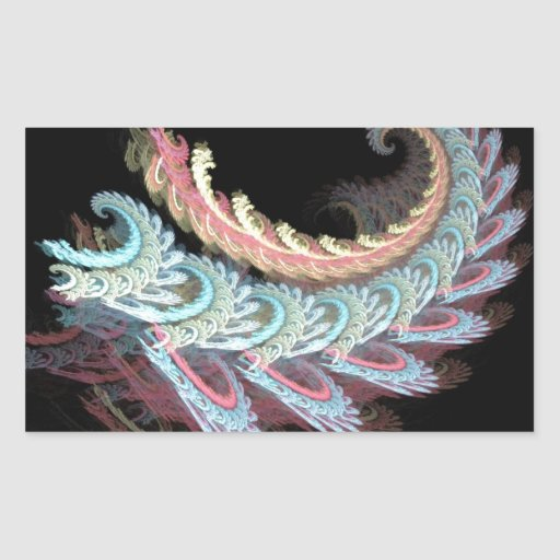 Pastel Color Paisley Fractal Art Design Gifts Rectangular Sticker