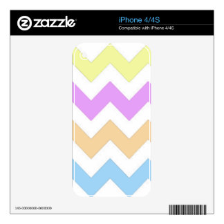 Pastel color pink, yellow and blue zigzag strips. skins for iPhone 4S
