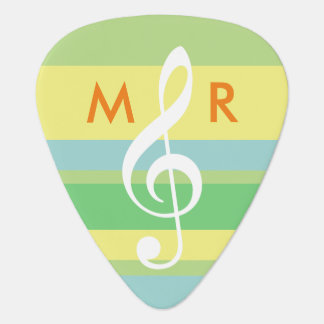 pastel color stripes with initials & treble clef guitar pick