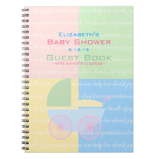 Pastel Colored Baby Shower Guest Book- Notebook