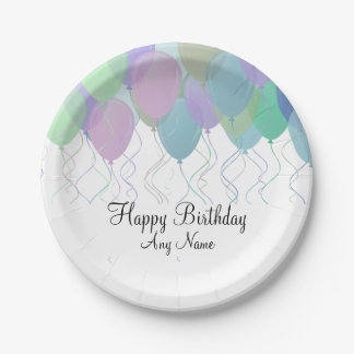 Pastel Colored Balloons Birthday Party Paper Plate