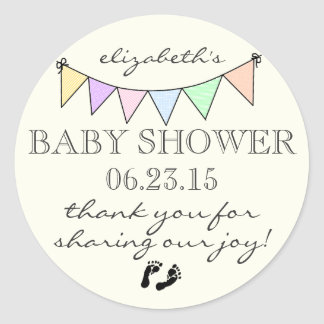 Pastel Colored Bunting-Baby Shower Thank You Classic Round Sticker