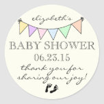 Pastel Colored Bunting-Baby Shower Thank You Sticker