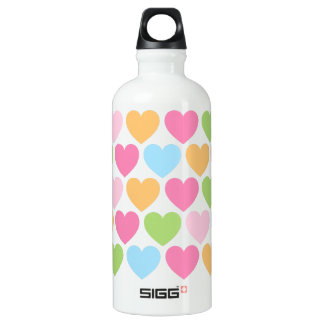 Pastel colored candy hearts custom water bottle
