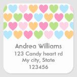 Pastel colored candy hearts girly address label stickers