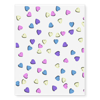Pastel Colored Candy Hearts Temporary Tattoos