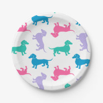 Pastel Colored Dachshunds Paper Plate