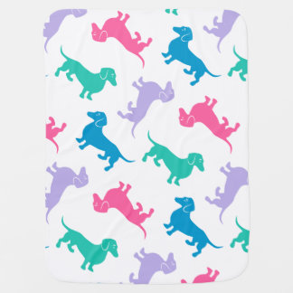 Pastel Colored Dachshunds Receiving Blanket