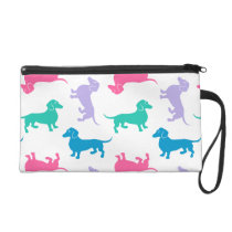 Pastel Colored Dachshunds Wristlet