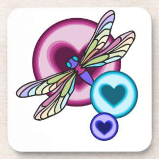Pastel colored dragonfly with blue pink and purple beverage coaster