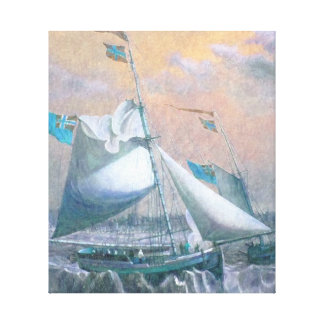 Pastel Colored Painting Shipping off the Coast Canvas Print