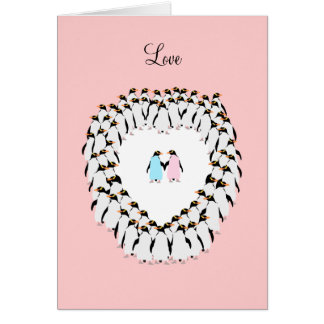 Pastel colored penguins in heart card
