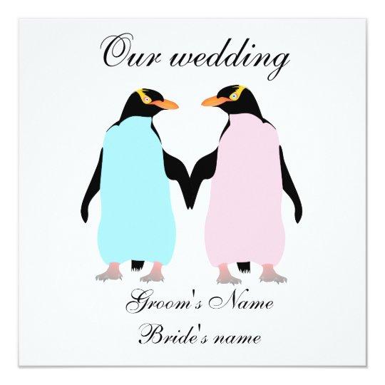 Pastel Colored Penguins Wedding Invitation Zazzle Com