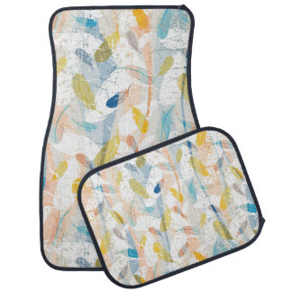 Pastel Colorful Abstract Feathers Pattern Car Mat
