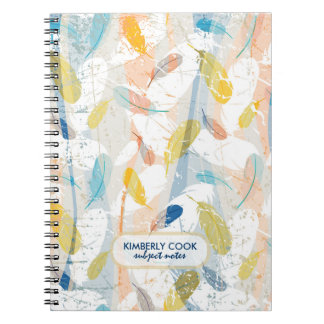 Pastel Colorful Abstract Feathers Pattern Notebooks