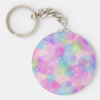 Pastel Colorful Circles Pattern Basic Round Button Keychain