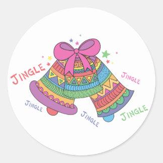 Pastel Colorful Jingle Bells Classic Round Sticker