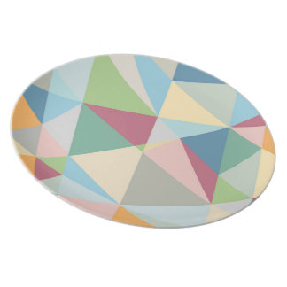 Pastel Colorful Modern Abstract Geometric Pattern Dinner Plate