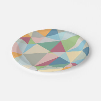 Pastel Colorful Modern Abstract Geometric Pattern Paper Plate