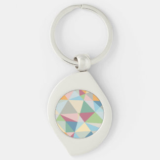 Pastel Colorful Modern Abstract Geometric Pattern Silver-Colored Swirl Metal Keychain