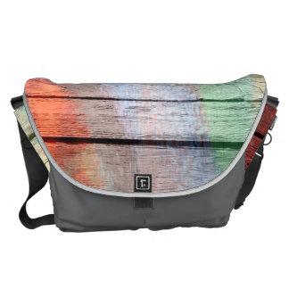 Pastel Colorful on Wood #8 Messenger Bag