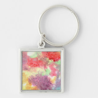 Pastel colorful watercolour background image keychain