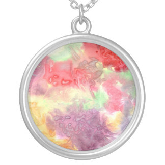 Pastel colorful watercolour background image personalized necklace