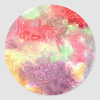 Pastel colorful watercolour background image round stickers