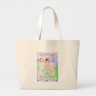 Pastel Colorized DaVinci Proportion Man Drawing Jumbo Tote Bag