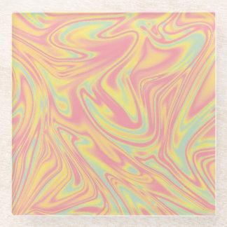 Pastel Colors Abstract Liquid Art Glass Coaster